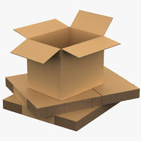 3dsmax open cardboard box set