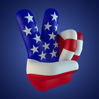 3d model fingers peace usa