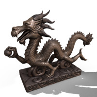 3d asian chinese dragon statues