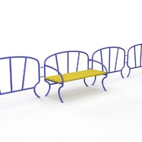 fence bench children playground 3d max