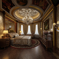 3d bedroom room luxury model