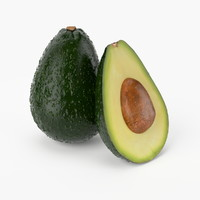 3d realistic avocado fruit real model
