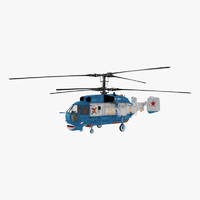 3d kamov ka-27 military helicopter