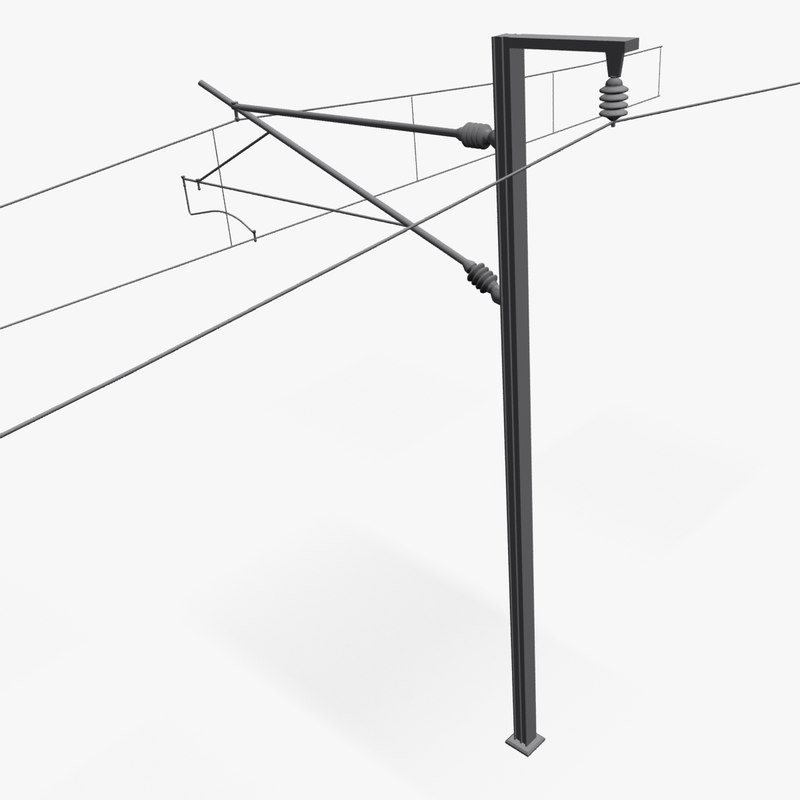 electric pole railway 3d max