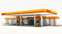 3ds max gas station shell