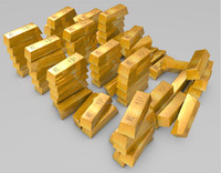 gold bullion bars 3d model