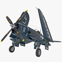 3d wwii fighter aircraft f4u corsair model