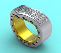 3d designed gold diamonds model