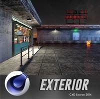 3d model market exterior scene