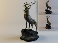 figurine red deer 3d model
