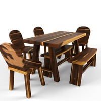 Crude Wood Dining Set