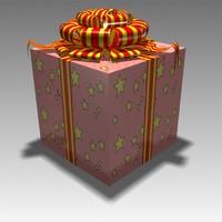 3d present gift box model
