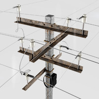 3d post power line model