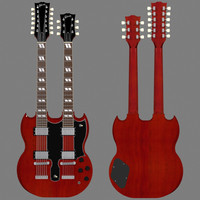 Gibson EDS 1275 Double Neck Guitar: Red Finish: 3D Model