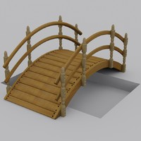 small wooden garden bridge 3d max