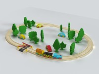 3d model toy train set