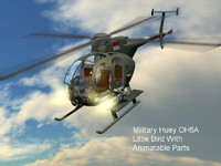 3d huey little bird helicopter