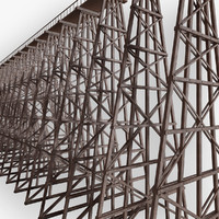 wooden trestle bridge 3d obj