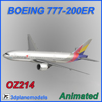 aircraft asiana airlines boeing 3d model