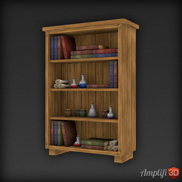 Low Poly Bookcase Library