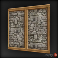 Hand-painted Wood Stone Wall 01