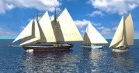 Caribbean Sailboats x3