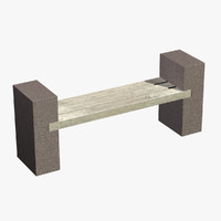 3ds max designed bench stone wood