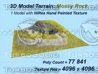 realistic terrain mossy rock obj