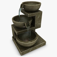 maya realistic home fountain brown