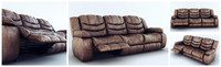 3d sofa ashley revolution burgundy