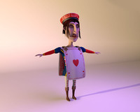 hearts knave cartoon character 3d model
