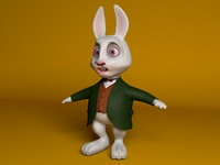 white rabbit cartoon c4d