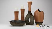 Decoration 0002 - vases, candlesticks and bowl set