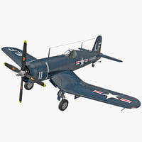 wwii fighter aircraft f4u corsair 3d model