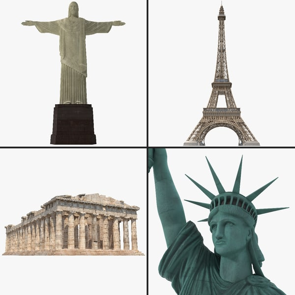 World Landmark Collection Cristo Redentor 2 Statue of Liberty Eiffel Tower Parthenon classic attraction tourist vray structure building historical