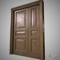 door wood wooden 3d obj