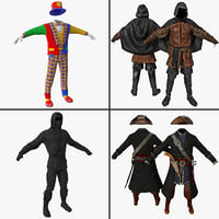 c4d costume clown clothes