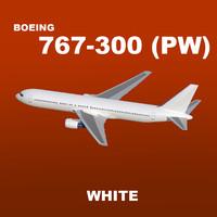 3d model boeing 767-300 white