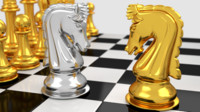 3d model pawns chess board