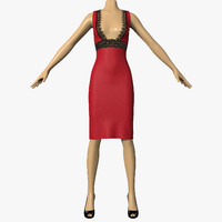 dress lace female mannequin 3d 3ds