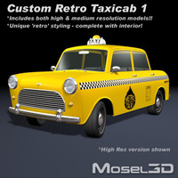 taxicab car retro 3d model