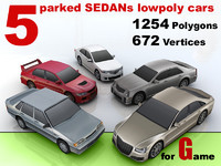 5 parked SEDANs lowpoly cars
