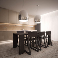 3ds max stylish dining set pedrali