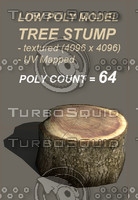 model: tree stump 3d obj