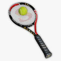 tennis racket ball 3d model