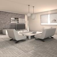 3d model living room deluxe