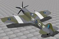 3d supermarine spitfire fighter xiv