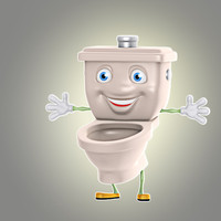 3d model cartoon toilet