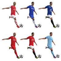 3d rigged soccer players body model
