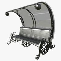 3d model bench seat